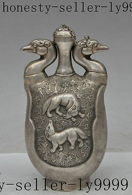 "8""chinese fengshui tibet silver animal bird beast flower statue Snuff bottle Pot"