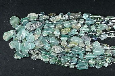 Ancient Roman Glass Beads 1 Medium Strand Aqua And Green 100 -200 Bc Rm22