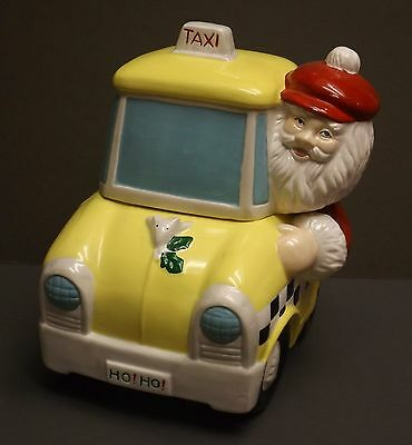 Cute Santa Claus in a Taxi Cab Cookie Jar
