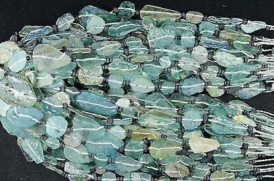 Ancient Roman Glass Beads 1 Medium Strand Aqua And Green 100 -200 Bc Rm26