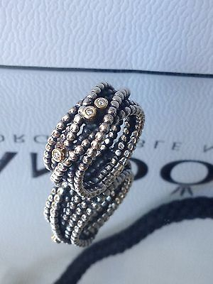 EXQUISITE PANDORA Sterling Silver 925 GOLD DIAMOND WOUND ROPE RING