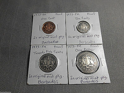 Four Barbados 1973 Franklin Mint Proof Clad Coins Mint Pkgs 1,10, 25 Cents, $1