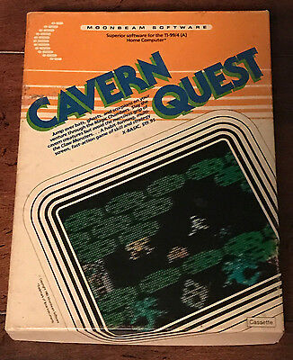TI 99/4a Cavern Quest Cassette with Original Box and Manual Tested and Working