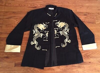 Traditional Chinese Men's Jackets With Embroidered Dragon Size Medium