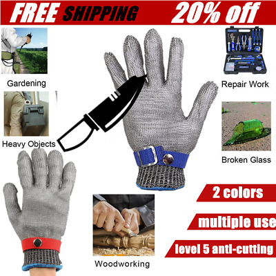 Breathable Comfortable Safety Cut Proof Stab Resistant Metal Mesh Gloves LOT NT