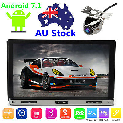 HD 7'' inch Double 2 DIN Car DVD GPS Player Stereo Head Unit Sat Nav Android 7.1