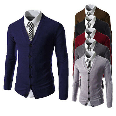 Mens Fashion Slim Fit V neck Knitwear Pullover Cardigan Sweater Jacket Coat Tops