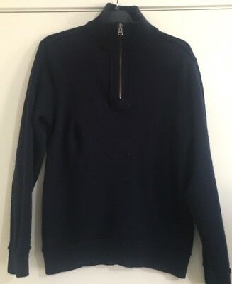 Mens COUNTRY ROAD Navy Blue Pure Wool Jumper. Size Large