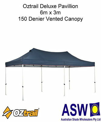6m x 3m NAVY VENTED Oztrail DELUXE PAVILION GAZEBO Instant Fold Market Marquee