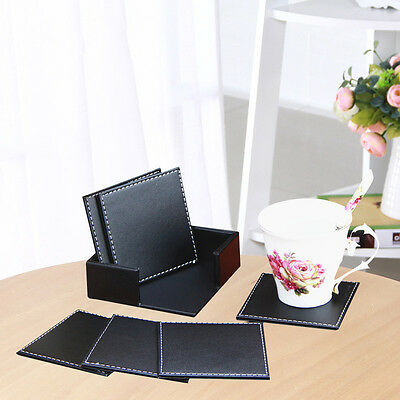 6 Double-deck Leather Coasters Set Placemat of Cup Mat Pad with Coaster Holder .