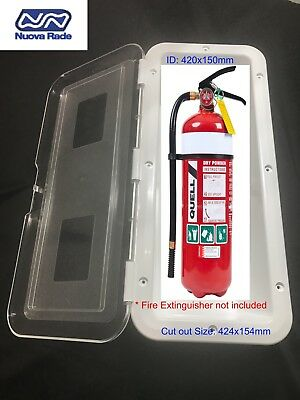 2kg Fire Extinguisher Box with Clear Hinged Door for Boat RV Caravan UV Stable