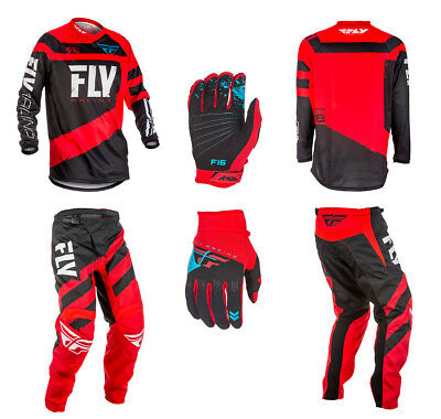 Fly Racing F-16 Adult Combo Kit - RED / BLACK - 28-42 Pants, Jersey & Gloves