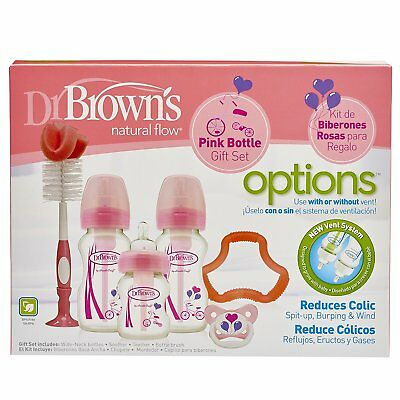 Dr Brown's Options Pink Baby Bottle Gift Set inc 150ml, 270ml, Brushes, Soother