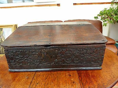Country Oak Bible Box  Primitive Carving  1680 Free Shipping To England