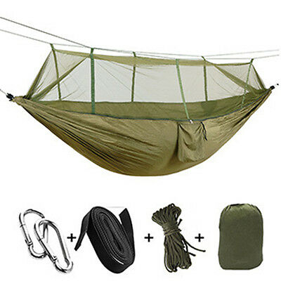Outdoor Mosquito Net Parachute Hammock Camping Hanging Sleeping Bed Army Green