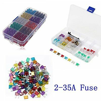 Blade Fuse Kit Set of 100pcs Assortment Auto Car Truck Motorcycle 2-35A Fuse Box