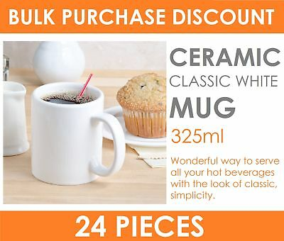 24 x 325ml Classic White Coffee Mug - Ceramic Plain White Mugs Drinking Tea Cup