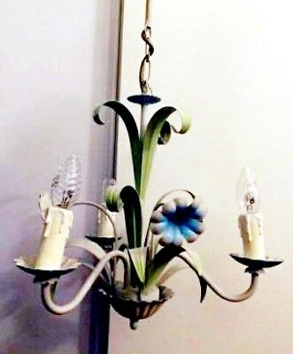 Vintage French Toleware 3 Lights Chandelier  Flowers & Leaves