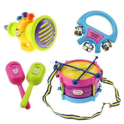 AU 5PCS/Set Baby Kids Drum Musical Instruments Band Kit Fun Educational Toy Gift