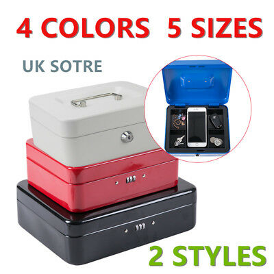 4 Colors Password Combination Lock Cash Box Safe With Coin Tray Petty Cash Tin