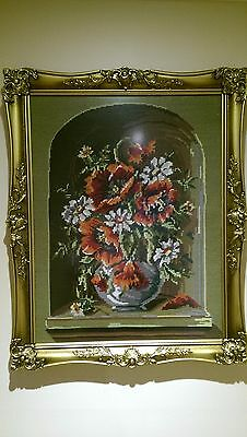 Tapestry Fine Wool Framed  Under Glass Of Flower Arangement