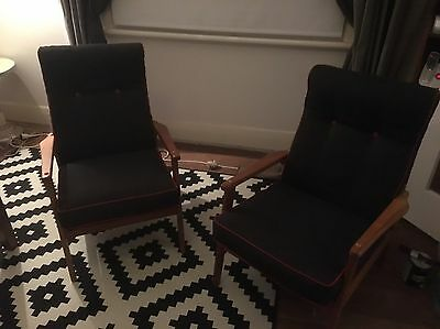 2x 1970's Re-upholstered Retro Chairs Excellent Condition