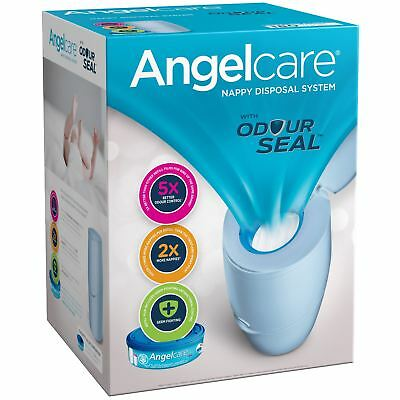 Angelcare Baby Nappy Disposal Bin System +1 Month Refill Cassette Bag Sack, Blue