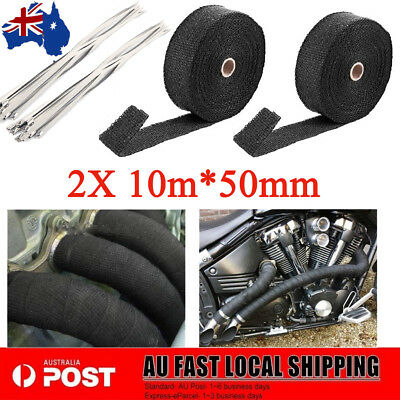 2X1022F EXHAUST HEAT 10MX50MM WRAP+10 STAINLESS STEEL CABLE TIES Heat Resistant