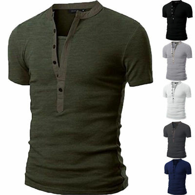 AU Men Slim Fit Henley V Neck Short Sleeve Muscle Tee T-shirt Casual Tops Blouse