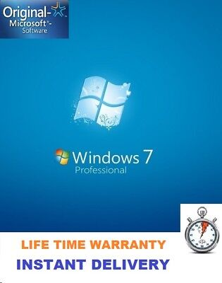 Genuine Activation license Key Windows 7 Professional LIFTIME INSTANT DELIVERY
