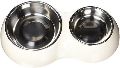Pet & dog/cat double dish feeder 2-compartment meal eating diner bowl Food/Water