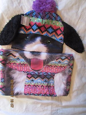 justice hat and scarf set puppy dog ear nwt