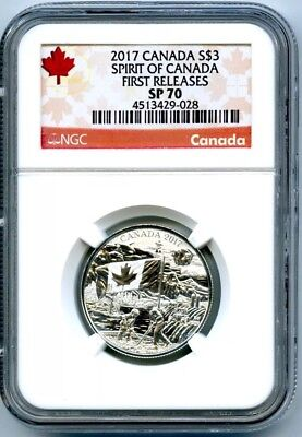 LoW PoP 2017 $3 CANADA SILVER SPECIMEN NGC SP 70 SPIRIT OF CANADA FIRST RELEASES