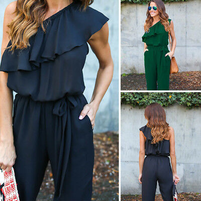 Ruffled Rompers Jumpsuit Long Trousers One Shoulder Women's  New Chiffon