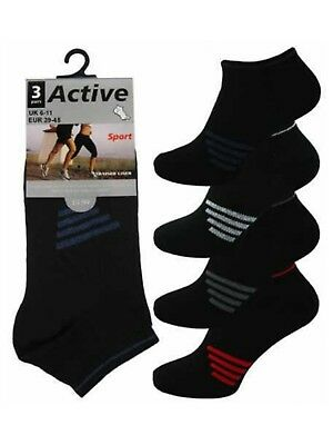12 Mens Black Stripe Active Sport Cotton Rich Trainer Liner Socks UK 6-11