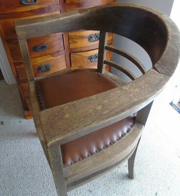 vintage oak tub and leather chair brass studds maybe antique