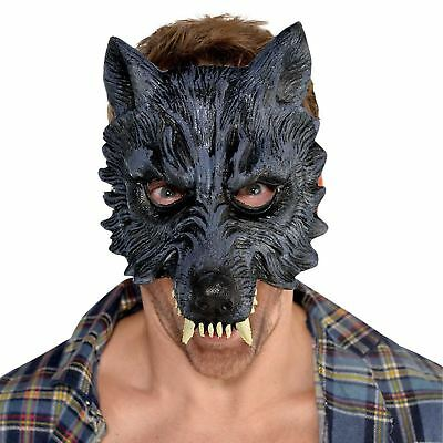 Mens Big Bad Grey Werewolf Wolf EVA Half Mask Realistic Halloween Fancy Dress