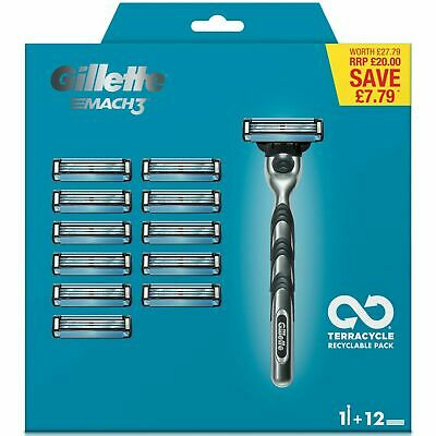 Gillette Mach3 Men's Razor + 11 Razor Blades With 3 DuraComfort Blades Gel Strip
