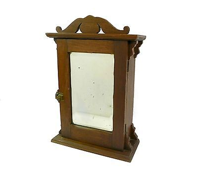 Antique Wood Medicine Cabinet, Wall Cabinet, Apothecary, with Beveled Glass Mirr