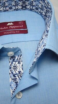 Moka Apparel Light Blue Mens Business Shirt French Cuff Pure Cotton Inner Lining