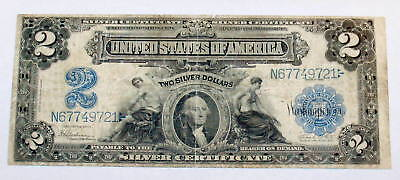 LARGE SIZE 1899 MINI PRTHOLE Silver CERTIFICATE $2 Two Dollar Note