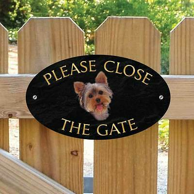 Yorkshire Terrier Sign, Please Close The Gate Sign, Yorkie Dog Gate Plaque Sign