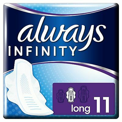 Always Infinity Sanitary Towels Long Pads With Wings Womens Soft Thin Pack of 11