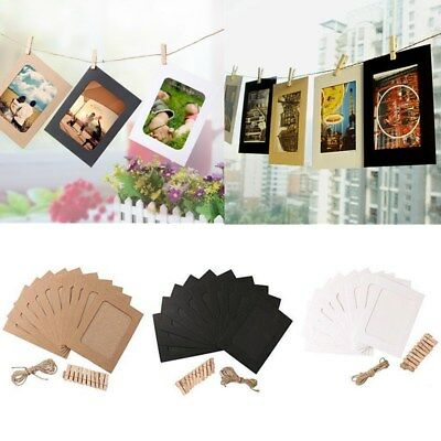 "10pcs 6"" DIY Wall Picture Paper Photo Hanging Frame Album Rope Clip Decoration"