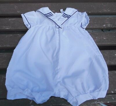 Rock A Bye Baby Vintage Nautical White Sailor Traditional Romper Suit 0-6 Months
