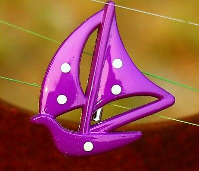 Purple sailboat with white polka dots plastic  BROOCH