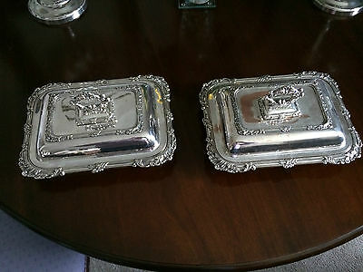 Pair of Antique Sheffield Plate Serving /Entree Dishes - very ornate decoration