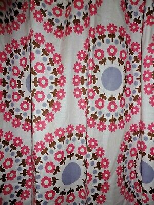 Dwell Retro Pink Brown Periwinkle Floral Medallion Split Shower Curtain 70 X