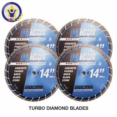 "4 PK - 14"" TURBO Diamond Blades Concrete, Pavers, Brick, Block, Stone FREE SHIP"
