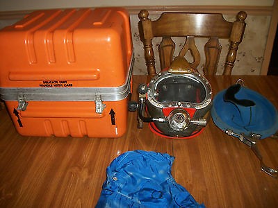 Kirby Morgan commercial divers helmet and storage box